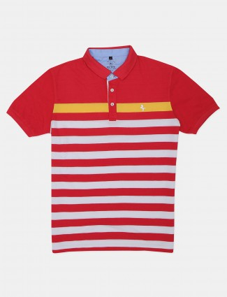 Instinto red printed casual polo t-shirt for men