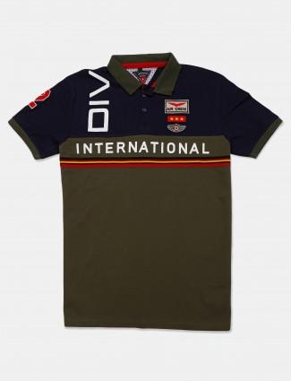 Instinto slim fit olive printed t-shirt