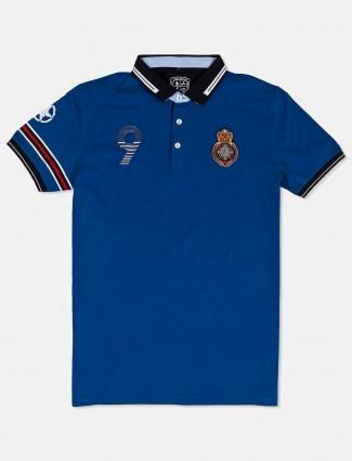Instinto solid blue cotton t-shirt