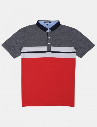 Instinto solid red cotton casual polo t-shirt