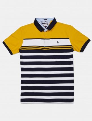 Instinto yellow stripe cotton polo t-shirt