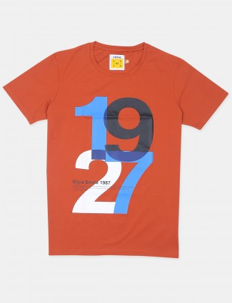 Ireal orange hue casual wear t-shirt in cotton