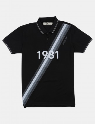 Ireal polo neck black printed t-shirt