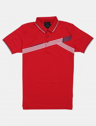 Ireal polo neck red shade printed t-shirt