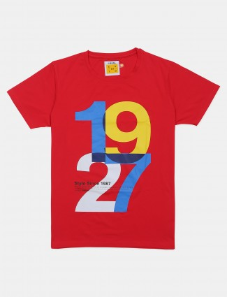 Ireal presented red shade casual t-shirt for mens