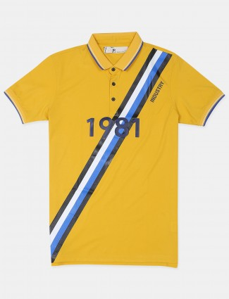 Ireal printed style yellow hue cotton t-shirt for mens