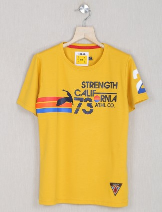 Ireal printed style yellow t-shirt for little boys