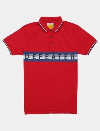 Ireal red casual wear t-shirt in cotton