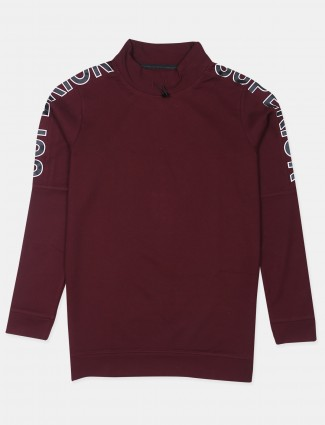 Ireal solid style maroon shade cotton slim-fit t-shirt