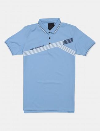 Ireal stone blue shade printed casual t-shirt