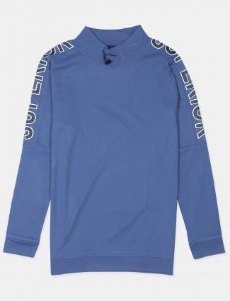 Ireal stone blue shade printed t-shirt