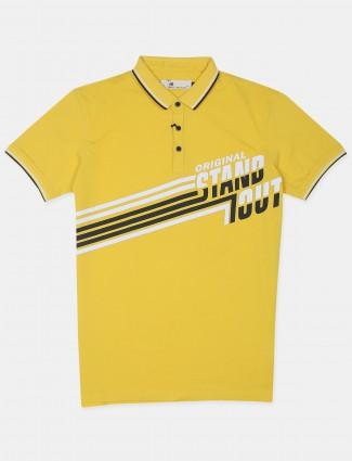 Ireal yellow hue printed cotton slim fit t-shirt