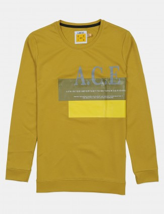 Ireal yellow printed cotton t-shirt in printed style