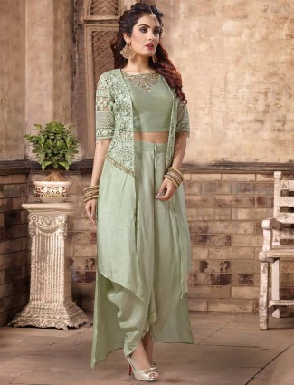 Jacket style green dhoti suit