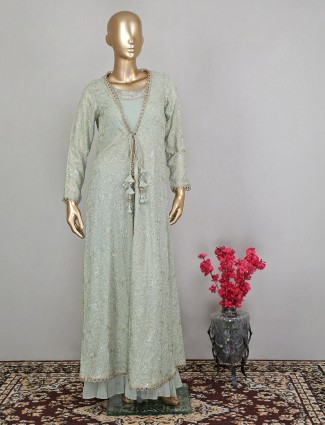 Jacket style pastel palazzo suit in georgette