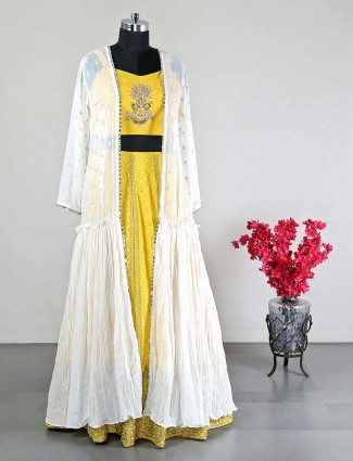 Jacket style Raw silk yellow wedding lehenga choli