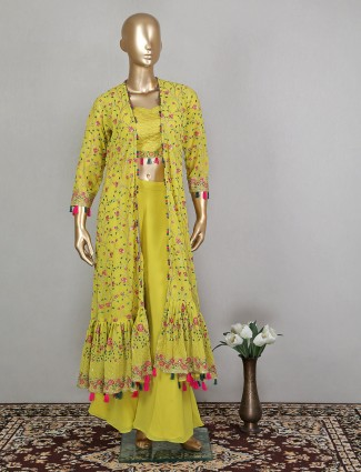 Jacket style yellow georgette palazzo suit for woman