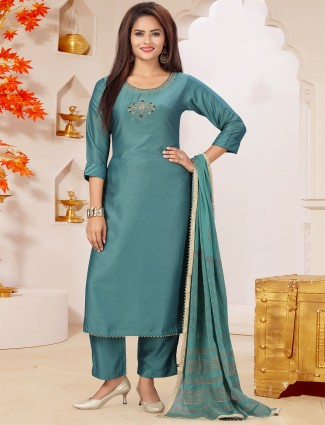 Jade green silk solid punjabi style pant suit for casual