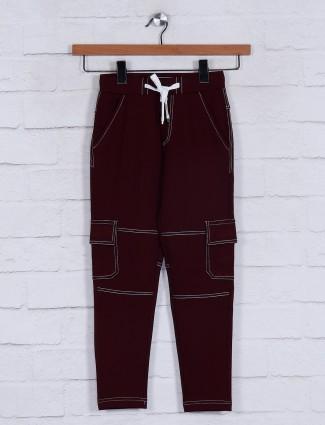 Jappkids night wear solid maroon track pant