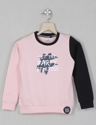 Jappkids pink cotton printed hue casual top for girls