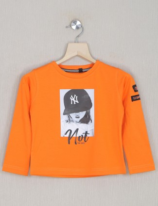 Jappkids presented fire orange shade casual top for girls