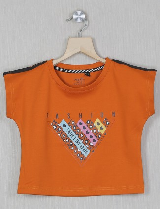 Jappkids rust printed hue casual event cotton top for girls