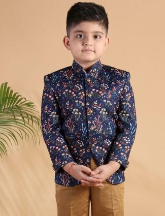 Jodhpuri suit in navy printed terry rayon party wear