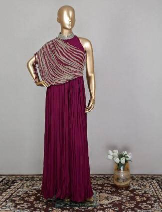 Jumpsuit in purple georgette for wedding event