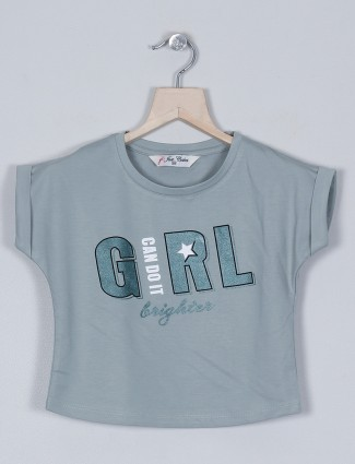 Just cloth mint green casual t-shirt for girls