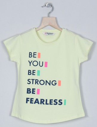 Just cloth neon green casual wear printed t-shirt