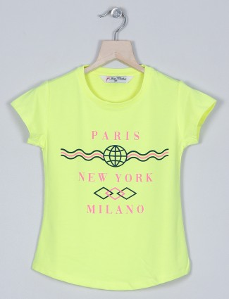 Just cloth neon green cotton t-shirt for girls