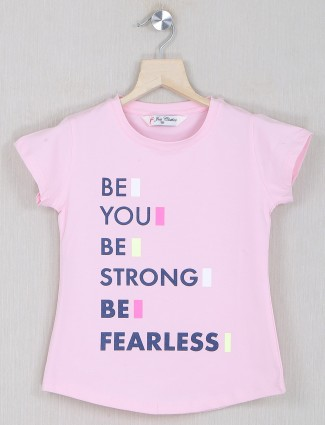 Just cloth pink printed cotton casual t-shirt