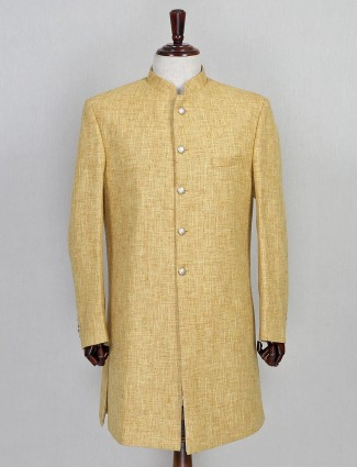 Jute solid yellow wedding sherwani