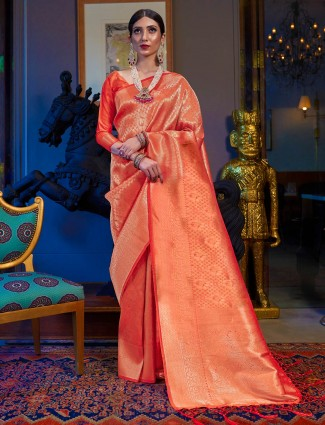Kanjivaram silk orange saree for wedding