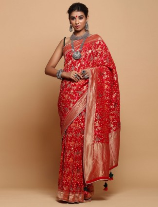 Khadi Red Saree For Party Wear