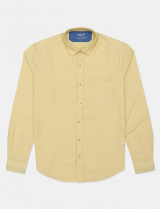 Killer cotton solid yellow casual shirt