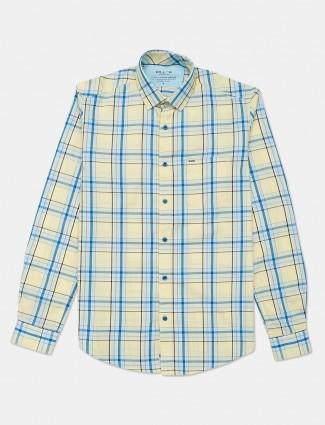 Killer cotton yellow checks casual shirt