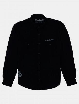 Killer solid style black shirt for men