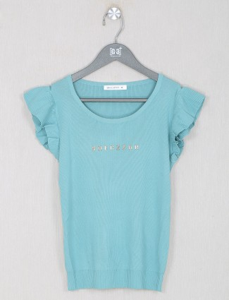 Knitted ocean green casual top for women