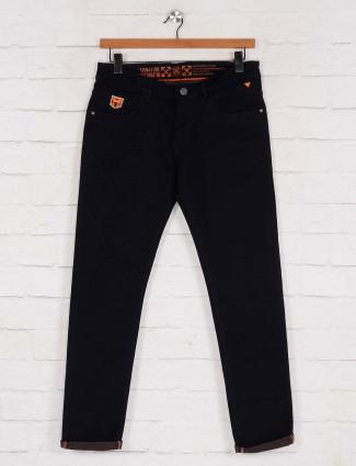 Kozzak black solid effect casual jeans