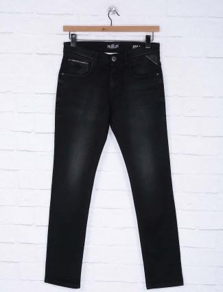 Kozzak solid black color denim jeans