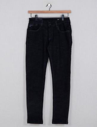 Kozzak solid black men denim jeans