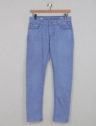 Kozzak solid blue denim jeans for mens
