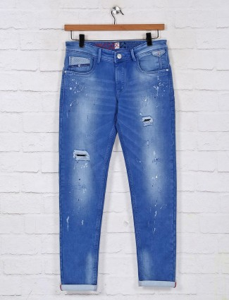 Kozzak washed blue regular casual jeans