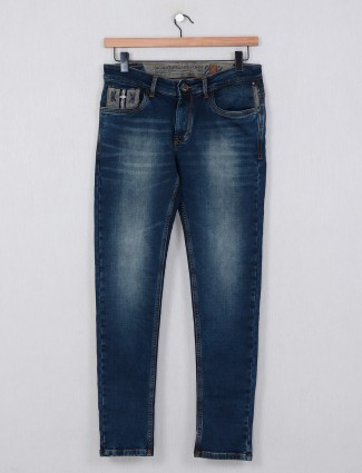 Kozzak washed dark blue casual denim jeans