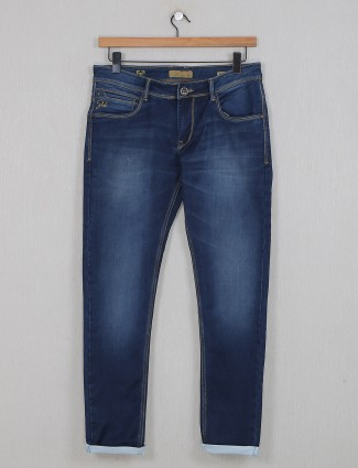 Kozzak washed slim fit blue jeans
