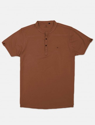Kuch Kuch casual brown solid t-shirt