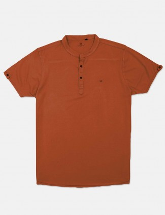 Kuch Kuch rust orange solid cotton t-shirt