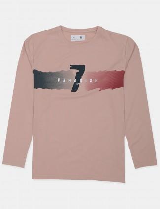 Kuchkuch brand printed style peach t-shirt