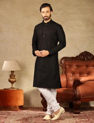 Lakhnavi thread work black cotton kurta suit for mens